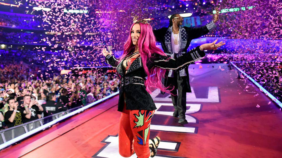 WWE-Sasha-Banks-WrestleMania-32-Red-Black-Jacket