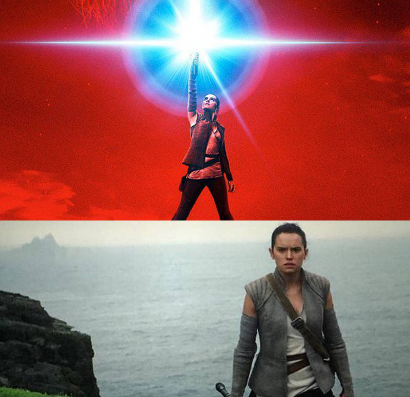 Rey and Luke in The Force Awakens
