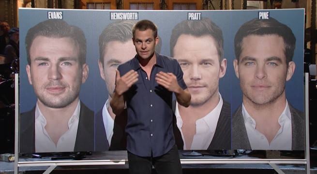 chris pine saturday night live monologue wonder woman hemsworth evans pratt