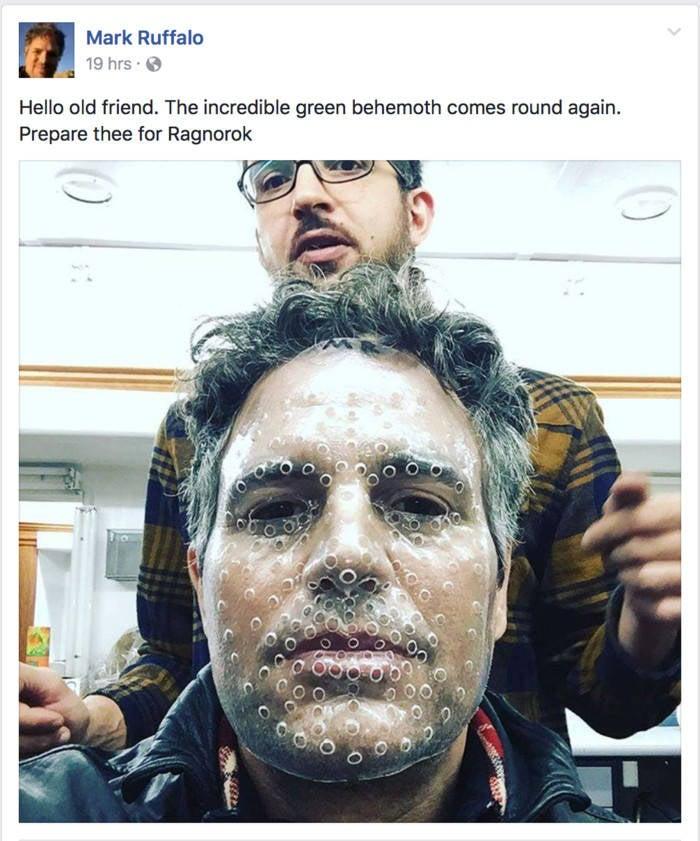 thor ragnarok reshoots hulk mark ruffalo facebook post