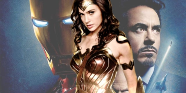 Gal Gadot Wonder Woman in DCEU Version of Iron Man Robert Downey Jr.