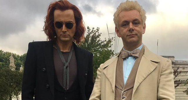 good omens tv show first look david tennant michael sheen neil gaiman