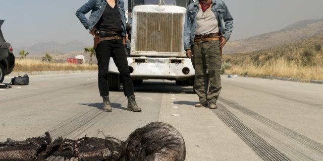 Kim Dickens as Madison Clark, Michael Greyeyes as Qaletaqa Walker- Fear the Walking Dead _ Season 3, Episode 10 - Photo Credit Richard Foreman, JrAMC