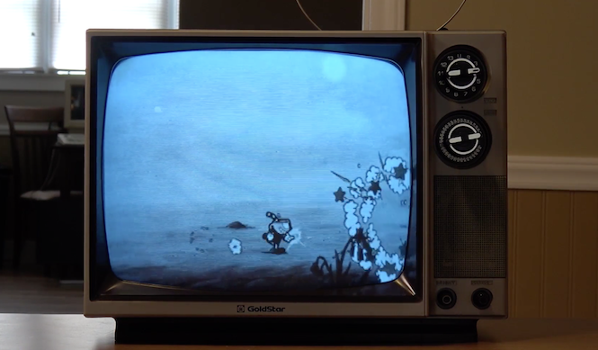 Cuphead Looks Amazing On A Black And White Crt Tv