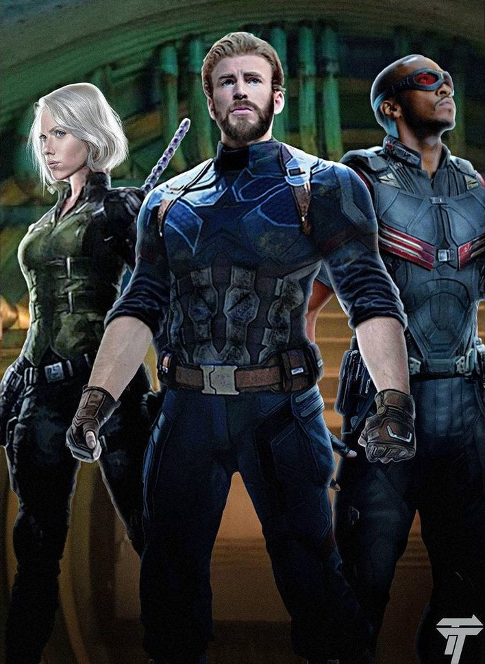 avengers infinity war art captain america falcon black widow