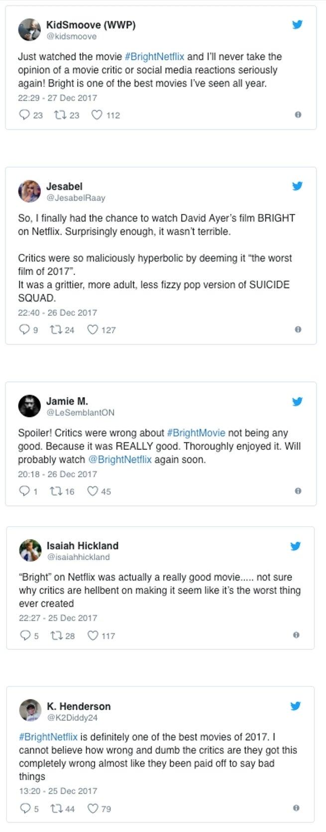 Bright Movie Positive Reviews