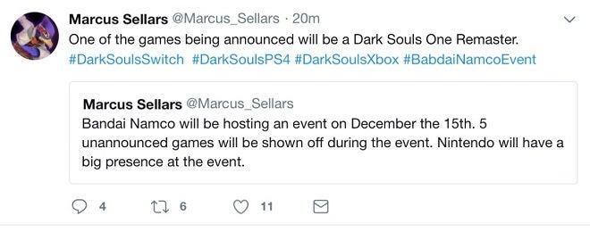 Dark Souls Remaster Tweet
