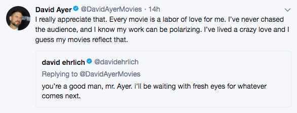 david ayer bright tweet