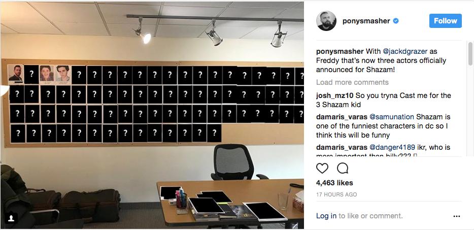 David Sandberg Shazam Casting Board