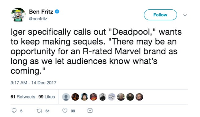 Disney R-Rated Marvel Movies Bob Iger