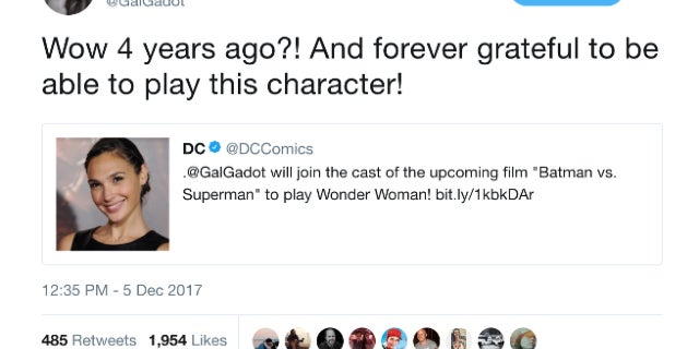 Gal Gadot Celebrates Four Year Anniversary Wonder Woman Casting Announcement