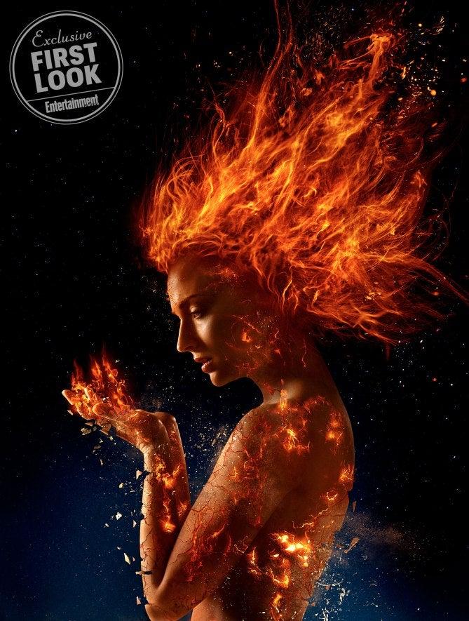 sophie turner x-men dark phoenix jean grey flames
