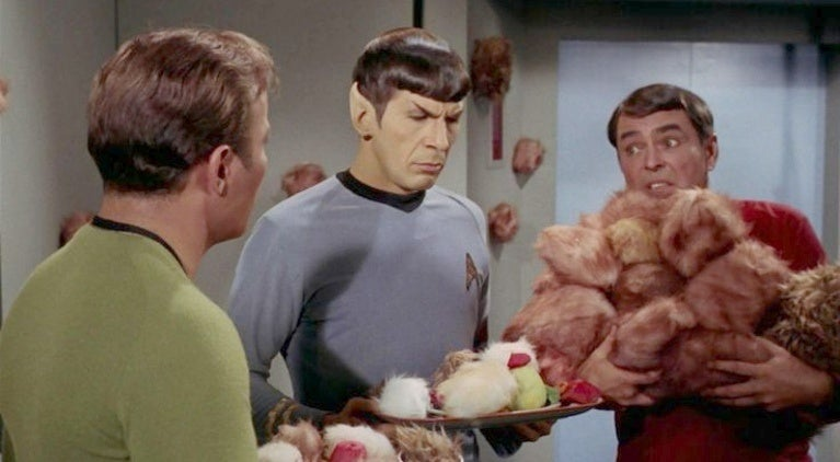 Spock Trouble with Tribbles