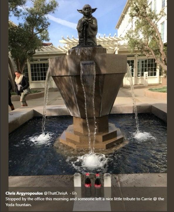 star wars carrie fisher tribute yoda fountain