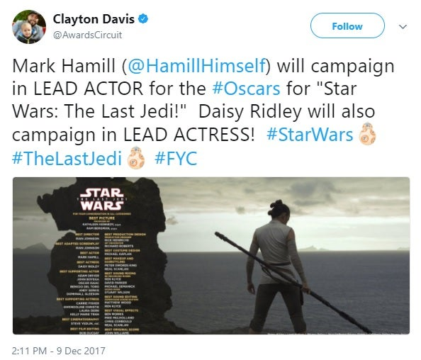 star wars the last jedi for your consideration