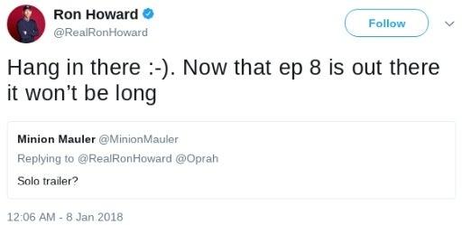 solo trailer release date ron howard twitter