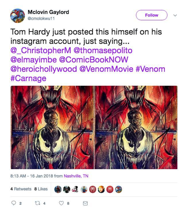 Tom Hardy Reveals Venom Carnage Image on Instagram