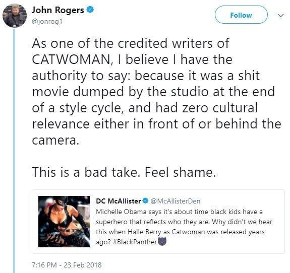 catwoman writer john rogers twitter