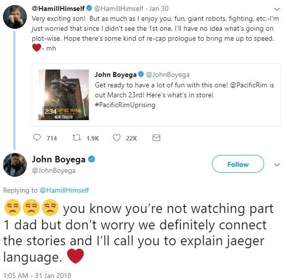 Star Wars Mark Hamill And John Boyega Have Hilarious Twitter Exchange About Pacific Rim Uprising This is a fan page dedicated to mark's career! star wars mark hamill and john boyega