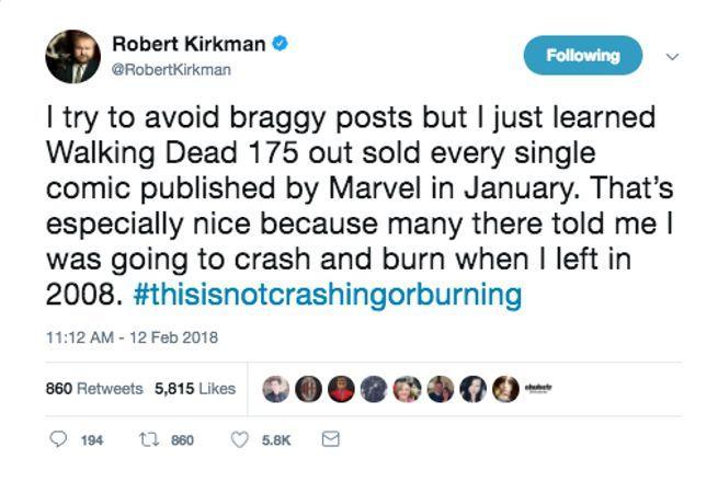 Robert Kirkman Brags Walking Dead Outsold Marvel Comics