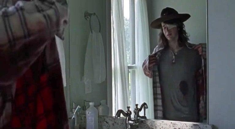 The Walking Dead Carl bite