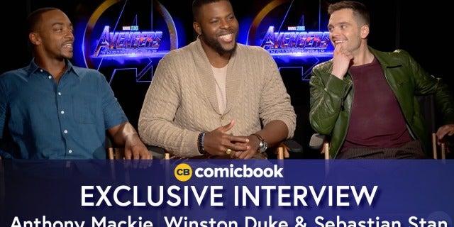 Anthony Mackie, Winston Duke, and Sebastian Stan Talk Avengers screen capture