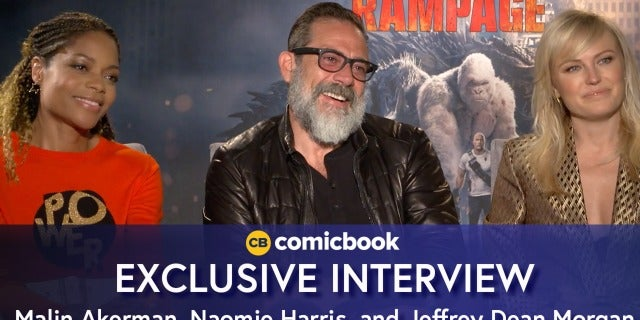 Malin Akerman, Naomie Harris, and Jeffrey Dean Morgan Talk Rampage screen capture