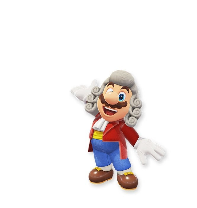 "Mario Odyssey 2 ""title ="" Mario Odyssey 2 ""height ="" 702 ""width ="" 665 ""data-item ="" 1105700 ""/> </figure> <p>  No desire for Zombie Mario? This conductor costume can be more of your speed, as Mario dresses in neat attire and has a penchant for classical music. Not to mention this great powdered wig. When he walks around, does he leave a powdery trail? I'm just wondering. </p><div><script async src="