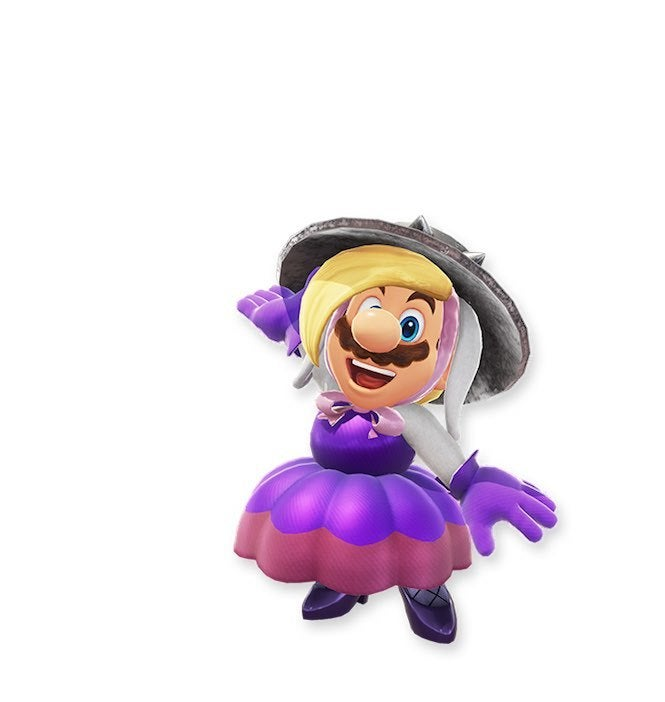 "Mario Odyssey 4 ""title ="" Mario Odyssey 4 ""height ="" 702 ""width ="" 665 ""daten-item ="" 1105702 ""/> </figure> <p>  Continuing with another member of the evil bunny line, this Mario gives multi-colored hair and pulls him into a dress. Not to mention great purple gloves that match this dress. We approve. </p> <p>  More outfits on the next page! </p> <p><svg role="