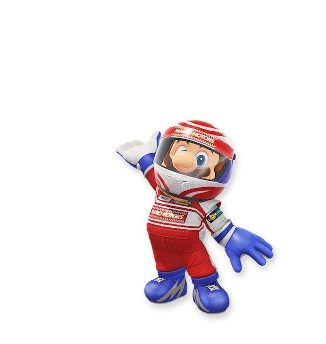 "Mario Odyssey 6 ""title ="" Mario Odyssey 6 ""height = ""702"" width = ""665"" daten-item = ""1105704"" /> </figure> <p>  Here's going on. This race suit looks pretty good and advertises a fictional company called ""Mario Motors"" with some pretty, smooth racing gloves and shoes. This looks like he's wearing <i> Mario Kart 8 Deluxe </i>. Hmmm … maybe Nintendo should install this outfit in <i> the </i> game. </p> <figure class="