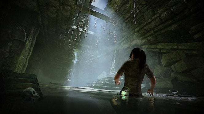 "Tomb Raider 5 ""title ="" Tomb Raider 5 ""height ="" 373 ""width ="" 665 ""daten-item ="" 1105215 ""/> </figure> <p>  In In this screenshot, Lara seems to be exploring the innards of a large structure, with a potential trap that may be poised to spring. As you can see, Lara has no problems getting around in the water and has a light if she runs into a dark area. </p> <figure class="