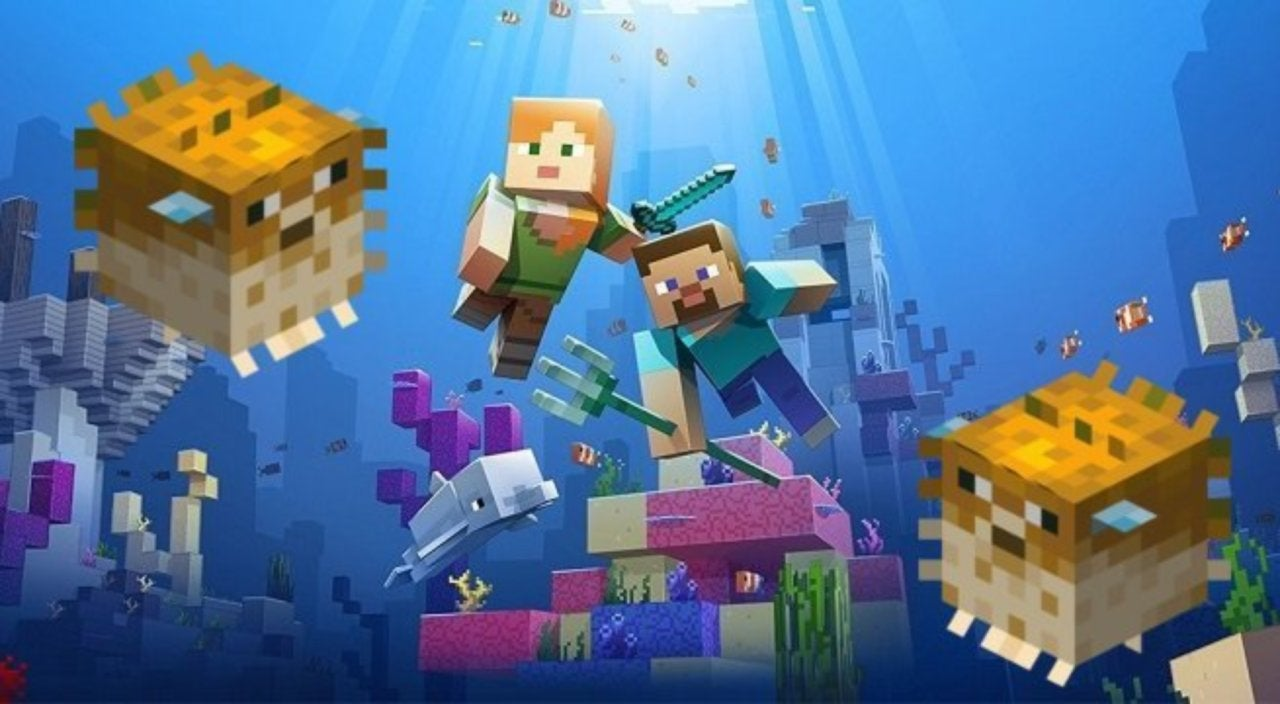 Minecrafts Update Aquatic Adds Unexpected Pufferfish Trap 2 Way Switch Minecraft