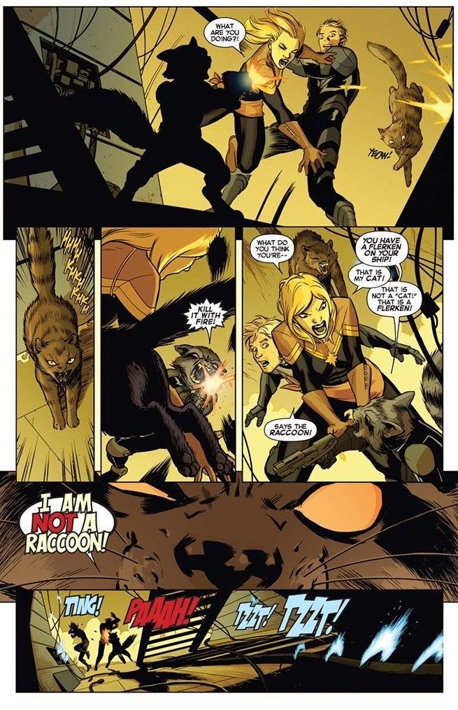 Captain-Marvel-Rocket-Raccoon-Chewie-Flerken-Fight