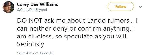 corey dee williams lando episode ix rumors