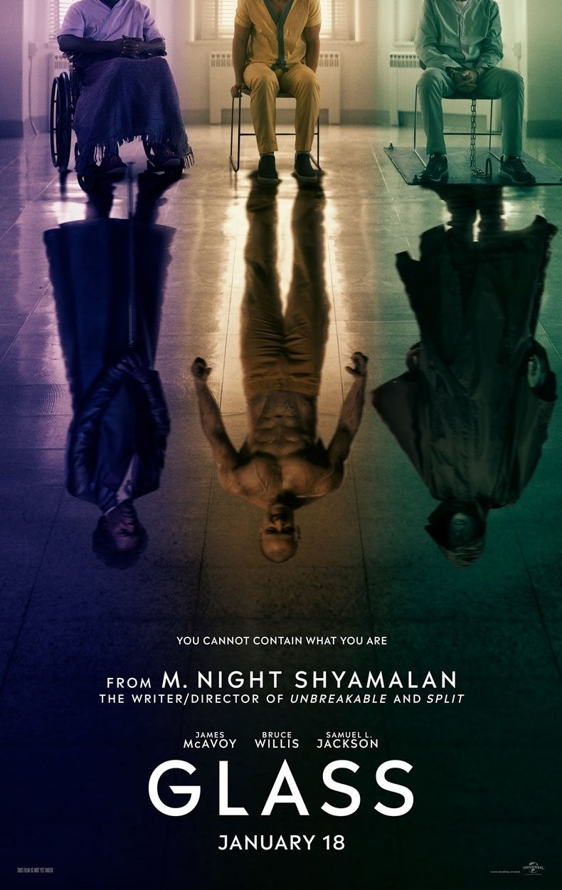 """Glass Movie Poster (2018) """"title ="""" Glass Movie Poster (2018) """"Height ="""" 1251 """"width ="""" 790 """"data-item ="""" 1119026 """"/> </figure> <p>  Shyamalan published the poster on <a href="""