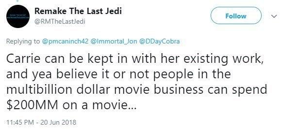 remake the last jedi twitter budget