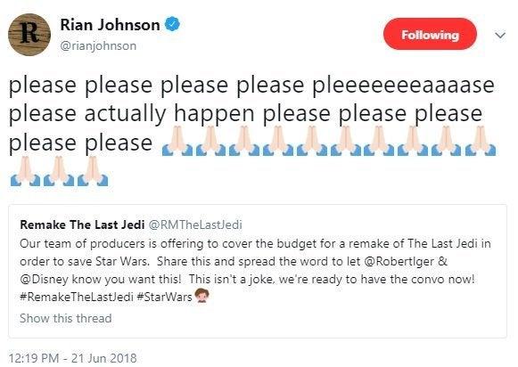 remake the last jedi twitter rian johnson