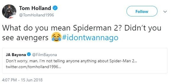 tom holland spider-man 2 tweet