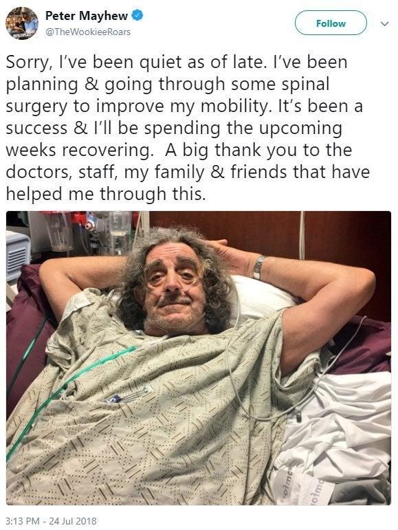 peter mayhew back surgery