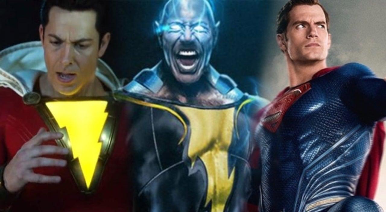 Shazam Is Ready To Fight Henry Cavills Superman The Rocks Black Adam