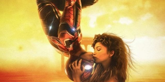 Spider-Man Far From Home Fan Poster Upside down kiss