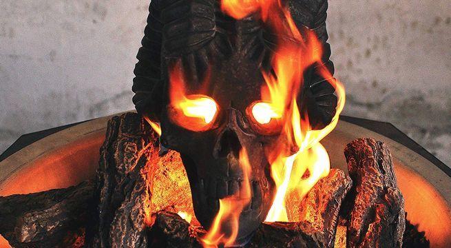demon fire pit skulls kick halloween up a notch