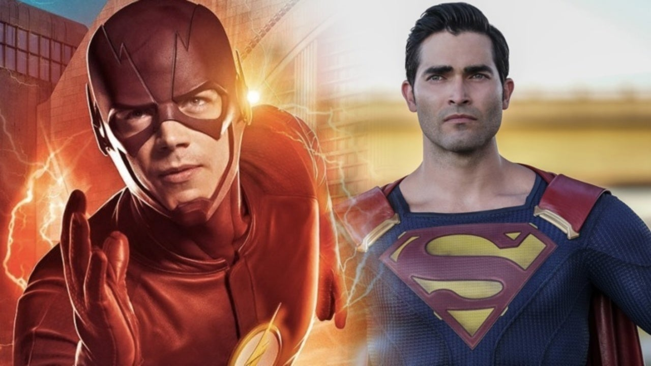 grant gustin confirms flash and superman scenes in arrowverse crossover