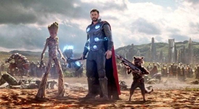 Groot Rocket Thor Hammer Avengers Infinity War
