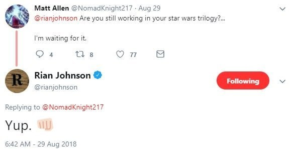 rian johnson new star wars films twitter