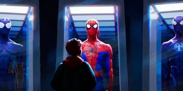 spider man into the spider verse still peter parker suits