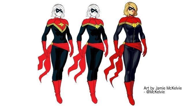Captain Marvel Artist Reveals First Draft Of Costume Concept art of captain marvel shown at san diego comic con proved that the finished film was still a long ways away. captain marvel artist reveals first