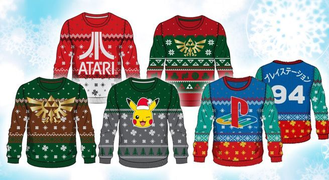 Ugly Christmas Sweaters Patterns.Ugly Gaming Christmas Sweaters Include Zelda Pokemon Atari