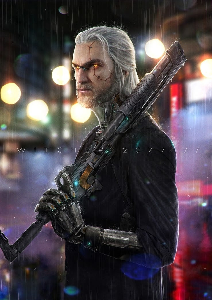 this the witcher fanart reimagines geralt of rivia in