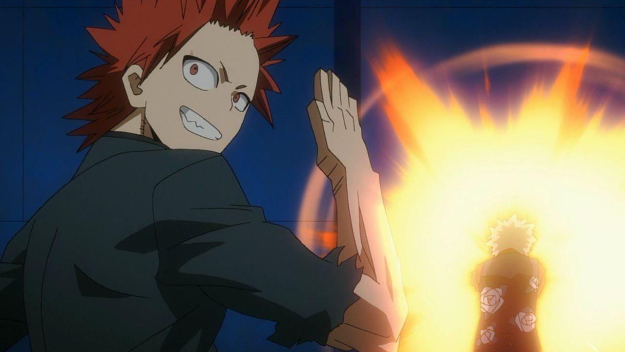 My Hero Academia Two Heroes Clip Reveals Bakugo Kirishima Team Up